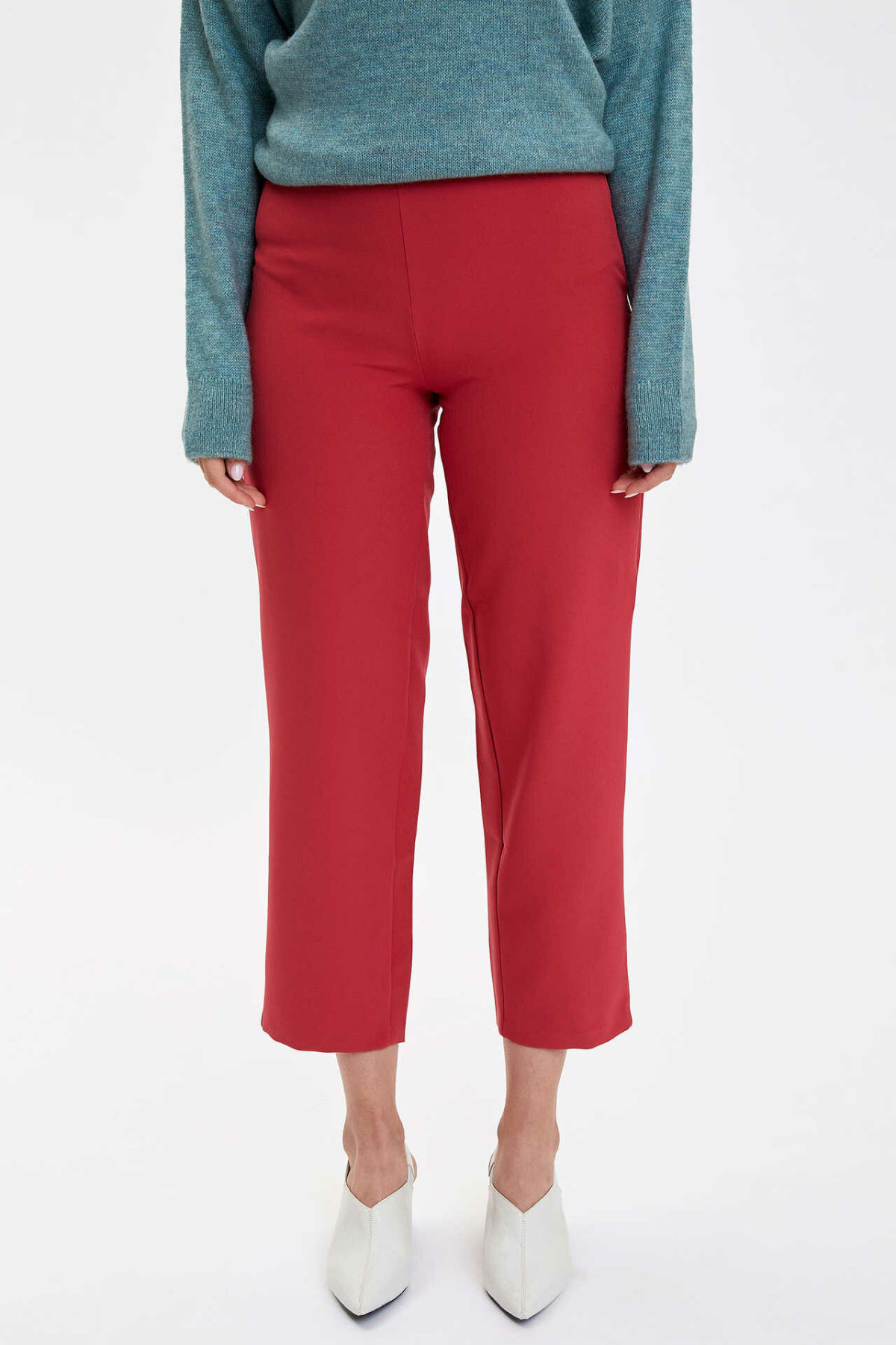 DeFacto Fashion Woman Solid Trousers Casual Straight Loose Pants Mid Waist Leisure Breathable Crop Pant Female New - M7330AZ19AU