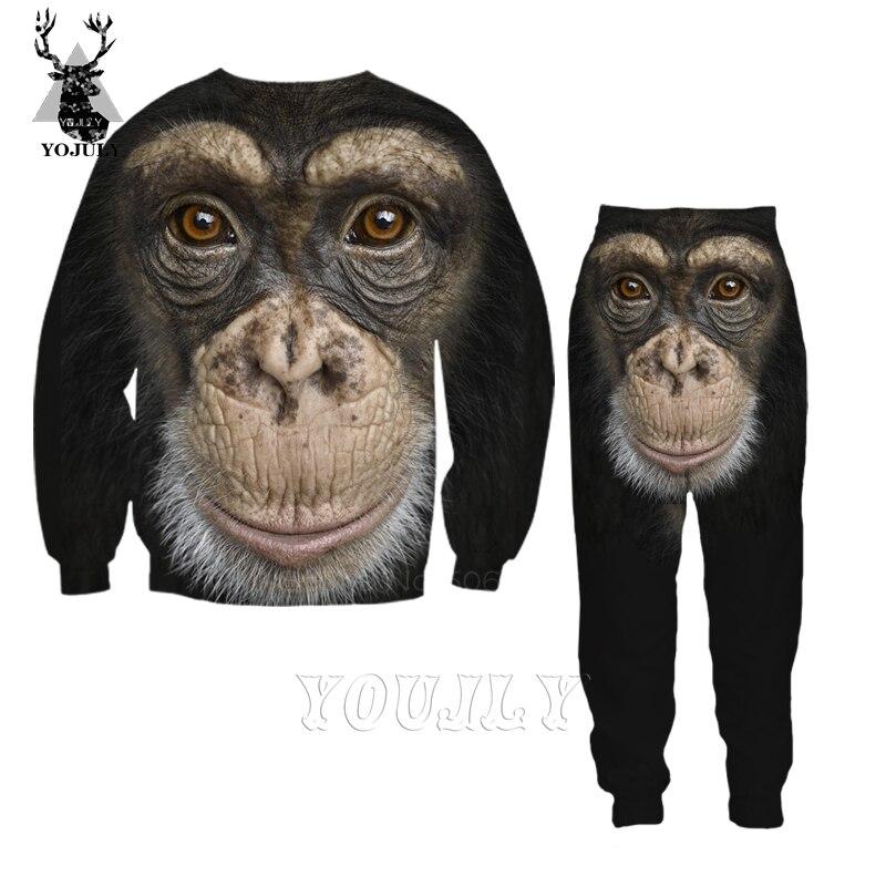 Orangutan T Shirt Monkey Fashion Off White Men's Sets 3D Animal T-Shirts/hoodie/Sweatshirt/trousers Hip Hop O-neck Streetwear 27