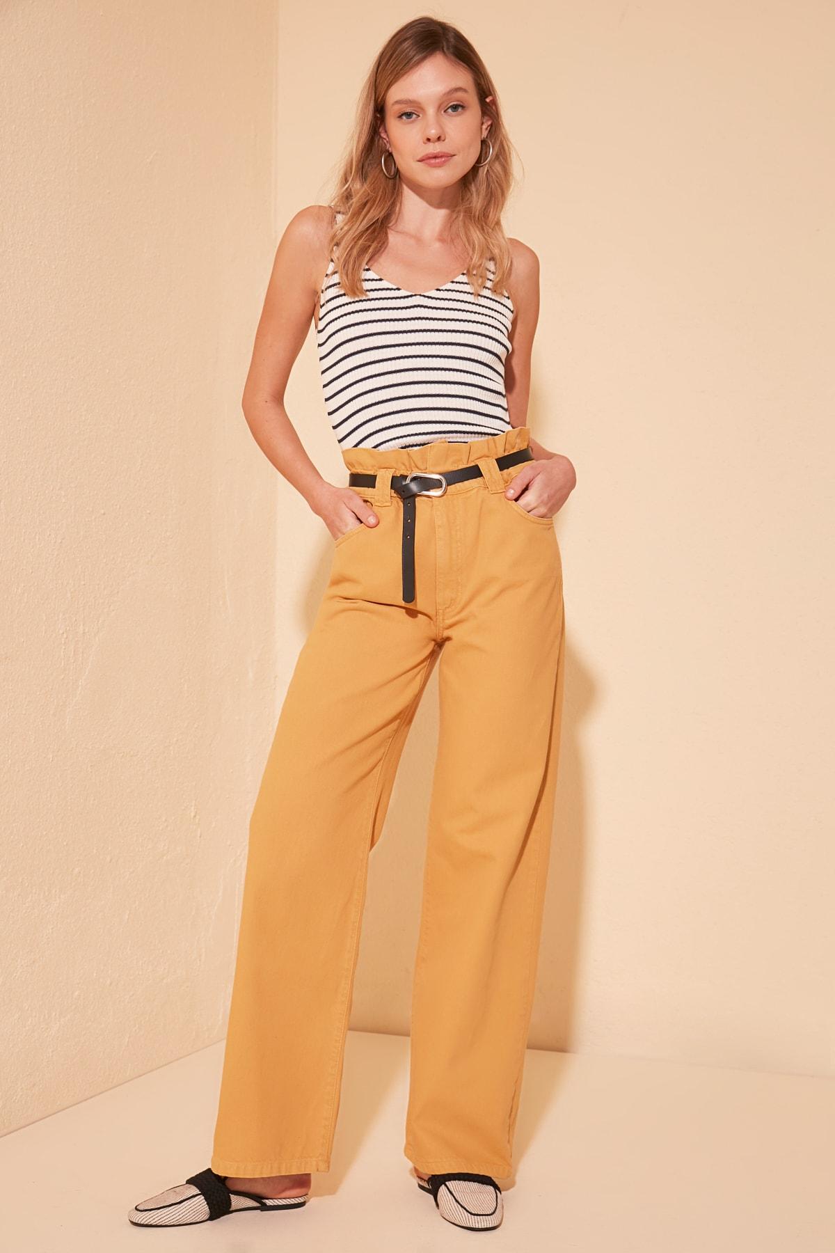 Trendyol Beli Shir Detailed Super High Waist Wide Leg Jeans TWOSS20JE0383