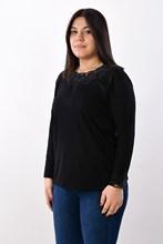 Women's Large Size Collar Gemstone Black Blouse 2601