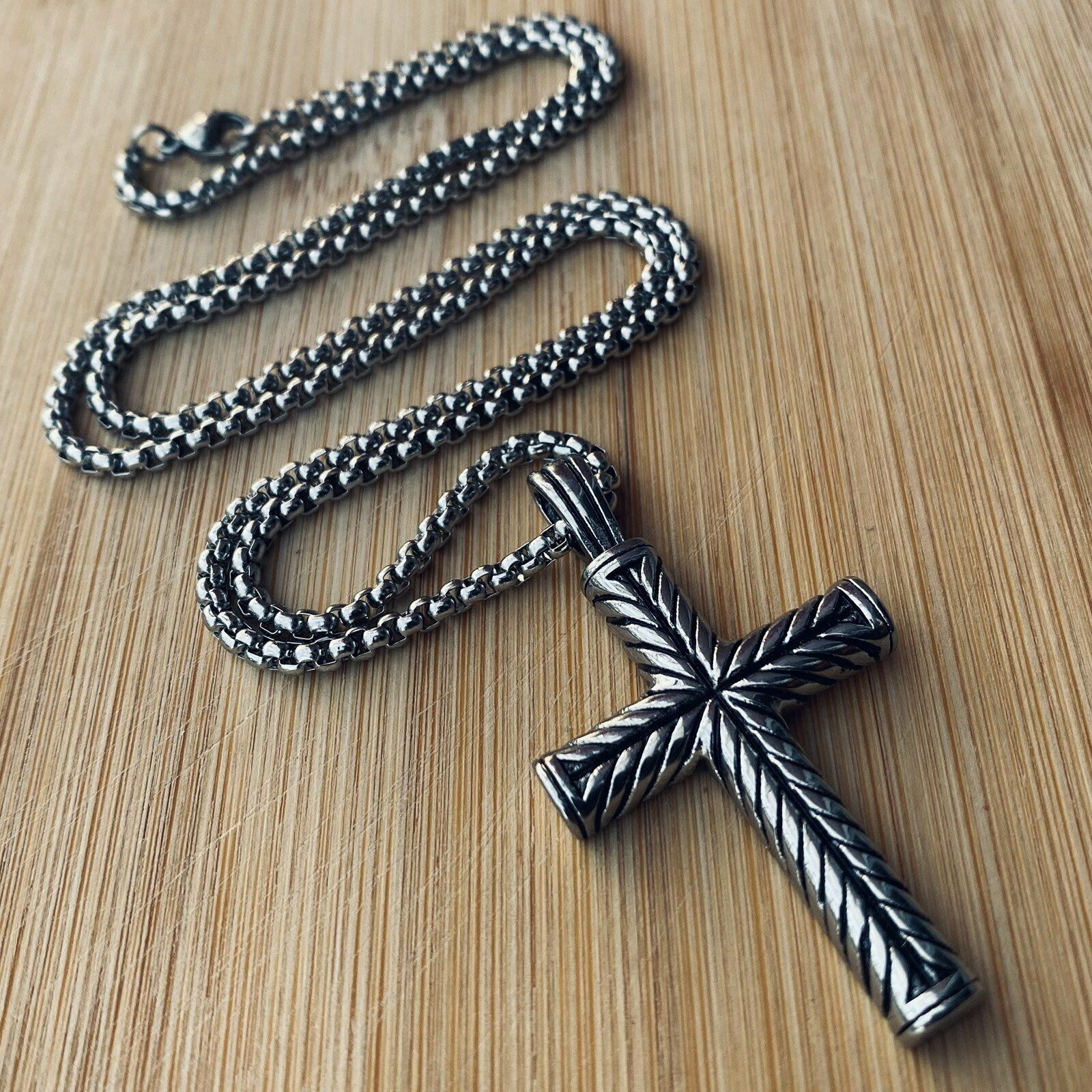 Мендель для мальчиков мужские Нержавеющая сталь винтажный крест-кулон ожерелье для мужчин и женщин, серебро
