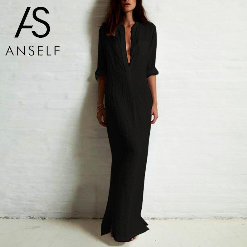 5XL плюс Размер Vestidos 2019 весеннее модное женское сексуальное Повседневное платье рубашка с длинным рукавом с глубоким v образным вырезом С Разрезом Длинное Макси платье