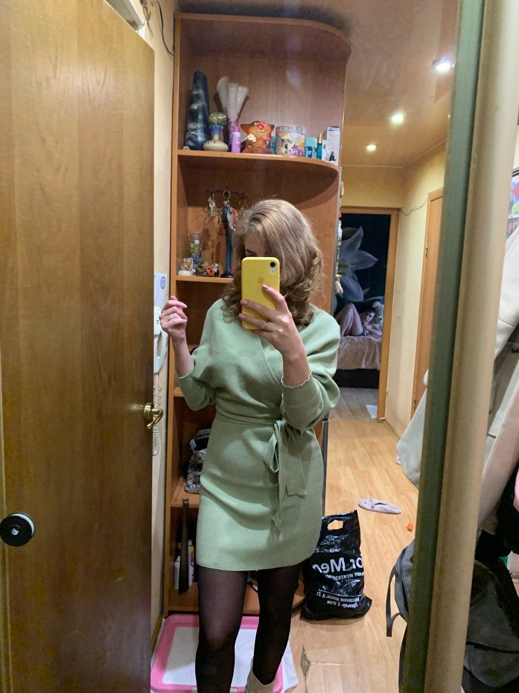 Tangada Women Dress Knitted Mini Dress Autumn Winter Ladies Sexy Green Sweater Dress Long Sleeve Vintage Korean photo review