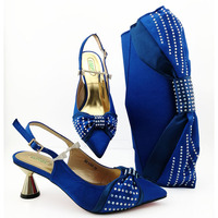Royal blue italian shoes and bag matching set for african aso ebi wedding party free shipping shoe and bag set matching SB8410 1