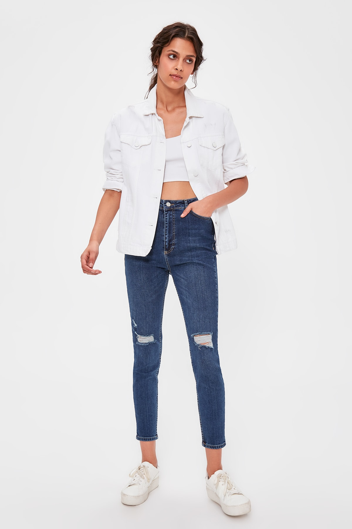 Trendyol Blue Ripped Detailed High Waist Slim Fit Jeans TWOAW20JE0242