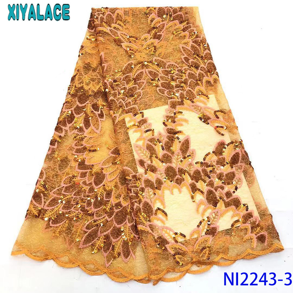 African Yellow Lace Fabric High Quality,Latest Organza Lace Fabric With Sequins,Unique Net Lace Fabric 2019 KSNI2243-3