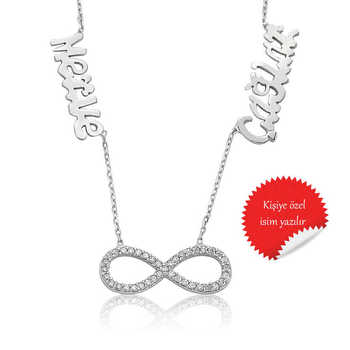 Merve Silver 925 Sterling Silver Infinity Two Named Lady Necklace
