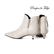 BHS 9011184 Stylish Pointed Toe Genuine Cow Leather Elegant Metal Braid Zipper 3.5CM Thin Kitten Heel Women Fashion Ankle Boots