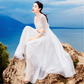 Runway ladies gauze ball gown long dress 2020 summer sexy white short-sleeved slim bohemian dress elegant Vestidos