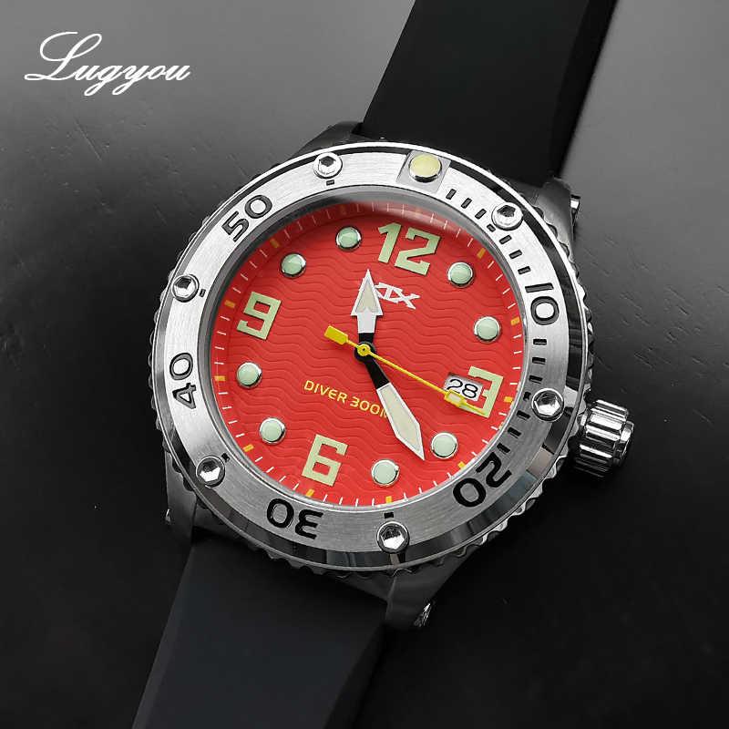 كرونوس KTS ساعة كوارتز رجالية اليابان حركة سيليكون حزام 30ATM الفولاذ المقاوم للصدأ ساعة اليد الاتصال الهاتفي الأحمر