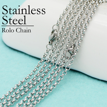 50 pcs - Stainless Steel Chain Necklace, Rolo Chain, Link 16/18/ 20/24/30 Inch