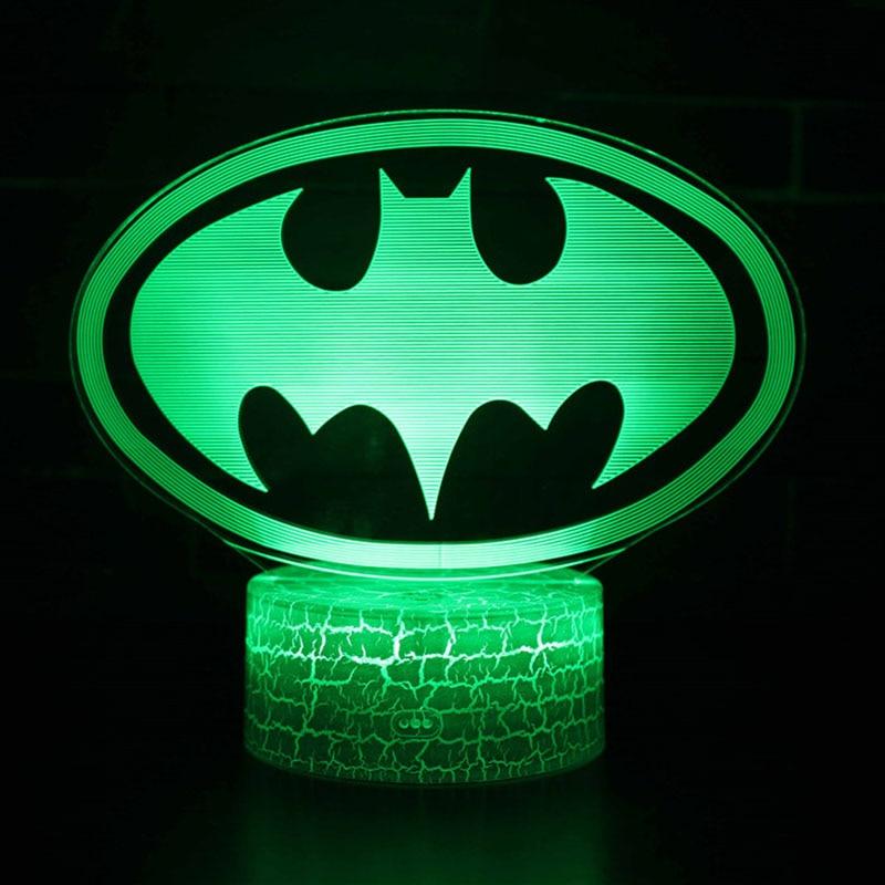Superhero Night Lights  Batman Logo Model LED Lamp Kids Bedroom Decoration Batman Lights With Remote Control For Kids Christmas