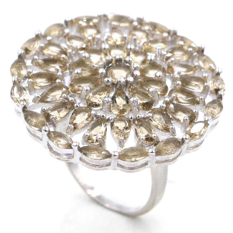 33x33 мм SheCrown большой круглый создан дымчатый топаз подарок для сестер серебряные кольца