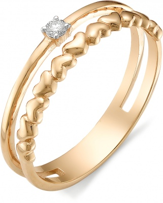 Alcor Red Gold Heart Ring