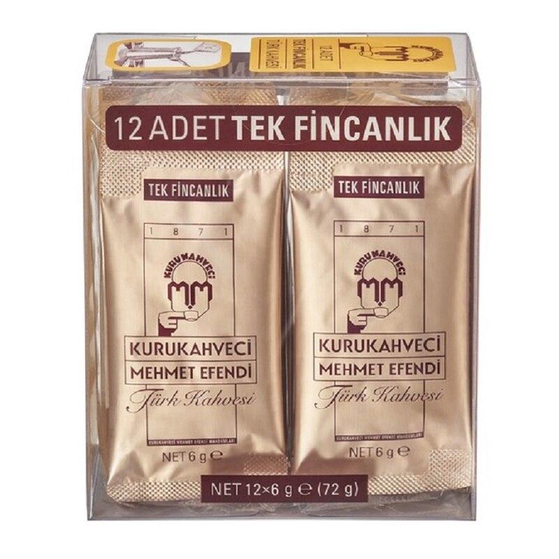 Turkish Coffee Traditional Kurukahveci Mehmet Efendi Ground Coffee 12 Pieces X 6 G Single Cup Turkish Coffee Made In Turkey