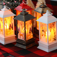 Christmas Decorations For Home Lantern Led Candle Tea light Candles Xmas Tree Ornaments Santa Claus Elk Lamp Kerst New Year Gift christmas santa claus night light 3d visual acrylic led desk lamp led christmas decorations for home lights kids new year gift