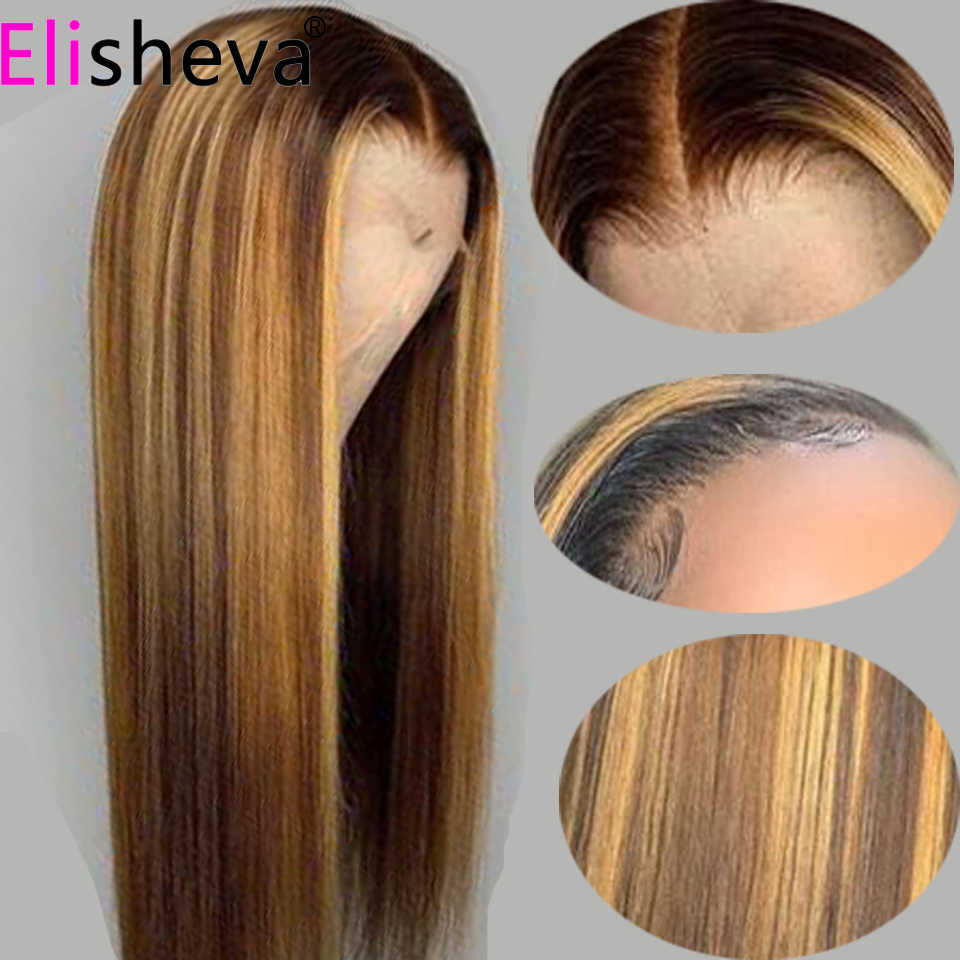 Highlight perucas frontal cabelo humano, 13x4 loira destaques reta frontal renda pré-selecionado remy brasileiro ombre perucas castanhas