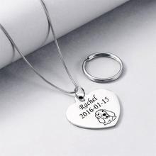 White K Stainless Steel Double-sided Polishing Heart Shape Bone shape Pet Avatar Customlized Pendant Keychain Dual-use Necklace