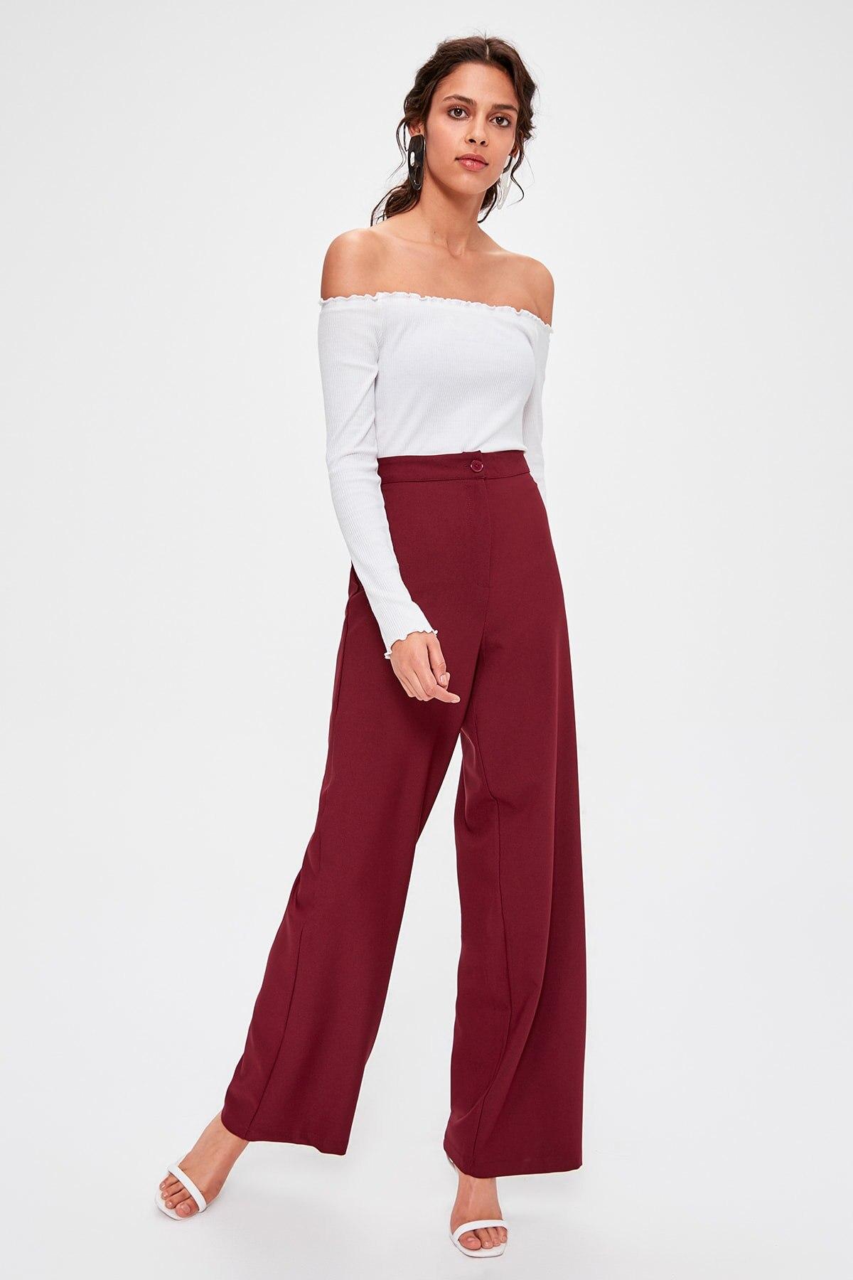 Trendyol Burgundy Flare Pants TWOAW20PL0244