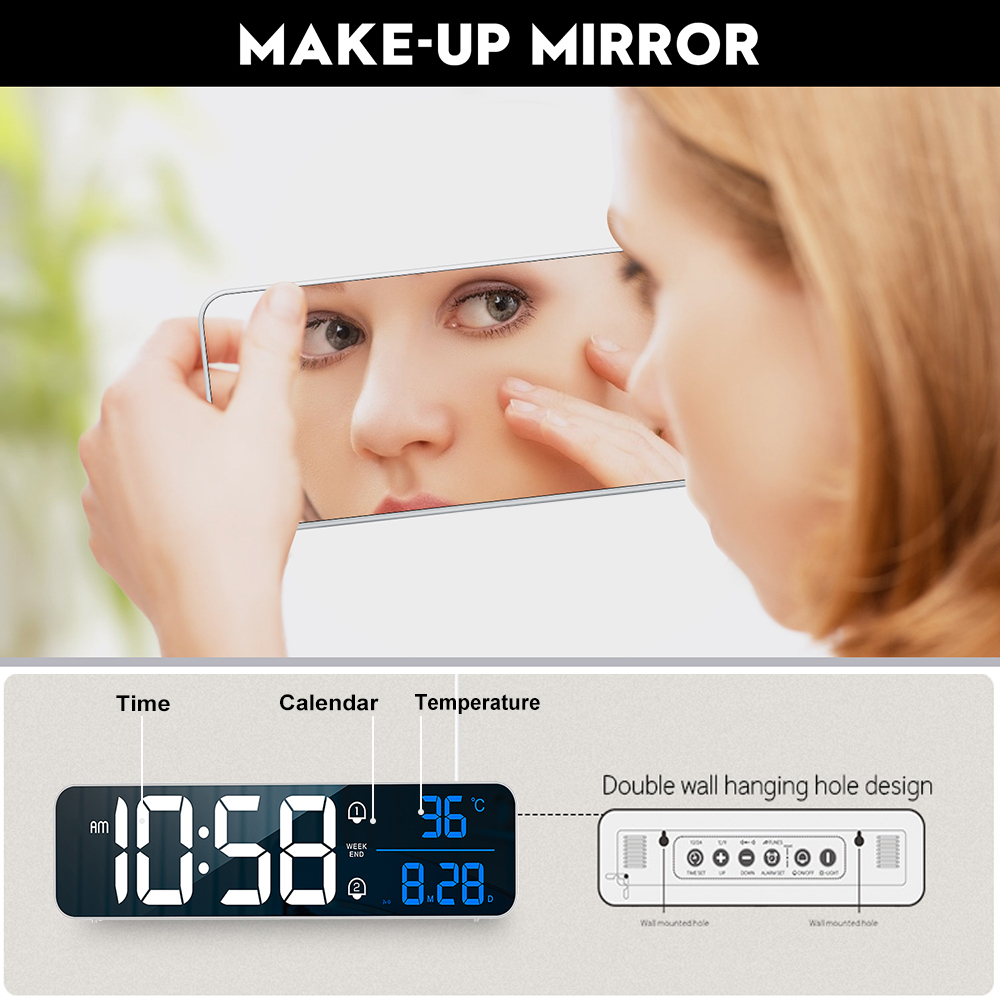 Music LED Digital Alarm Clock Temperature Date Display Desktop Mirror Clocks Home Table Decoration Electronic Clock 2000 mAh 2
