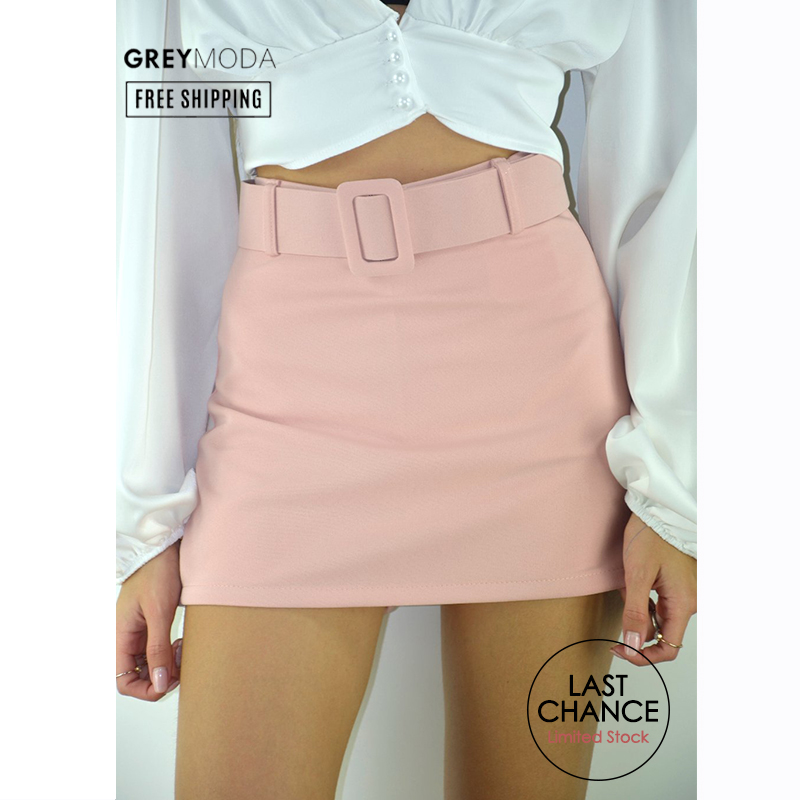 GREYMODA Bermuda Skort Skorts With Belt 3 Colors Mini Skirts Shorts Women High Waist Short Spring 2020 Made In Italy