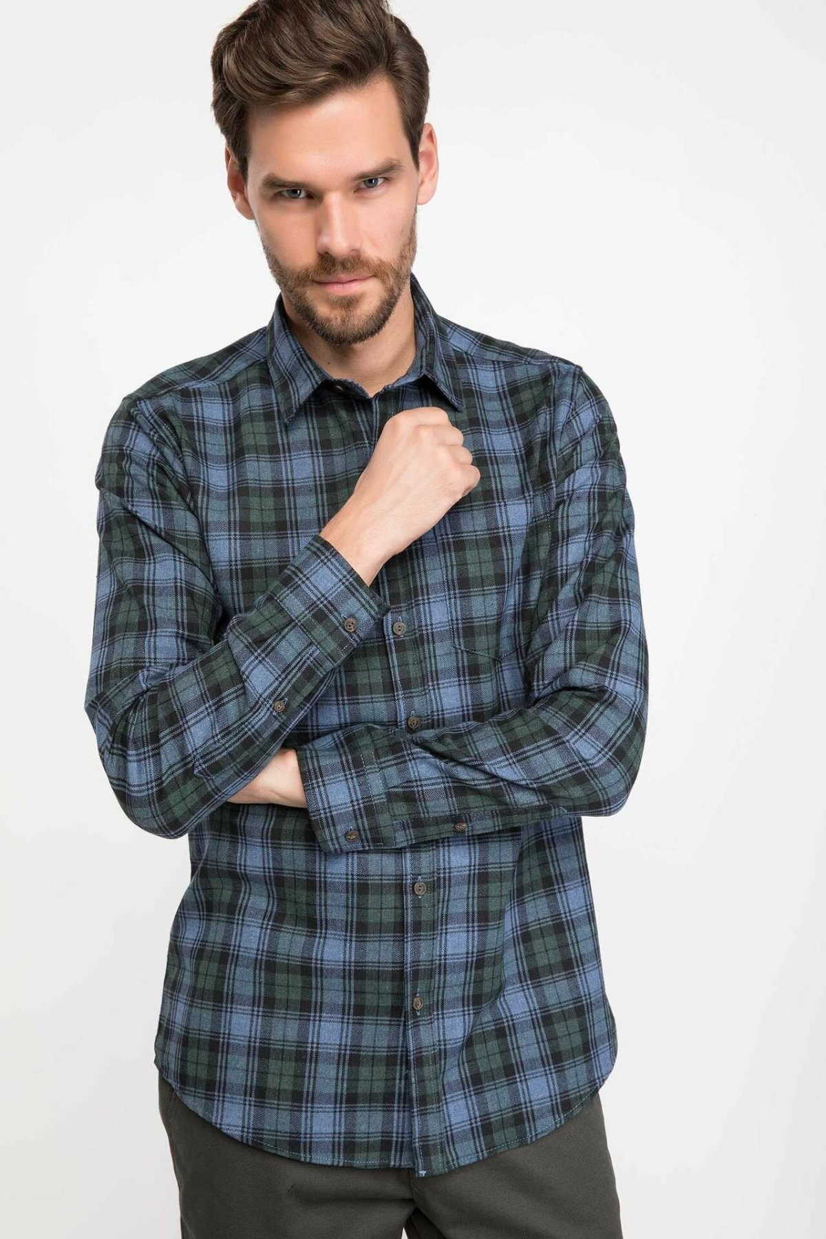 DeFacto Man Blue Green Plaids Long Sleeve Shirt Men Casual Cotton Shirts Men Grids Top Cloth Shirt-J1421AZ18WN