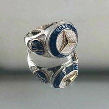 Bague en argent Sterling pour hommes, bijoux faits à la main avec logo de voiture Mercedes