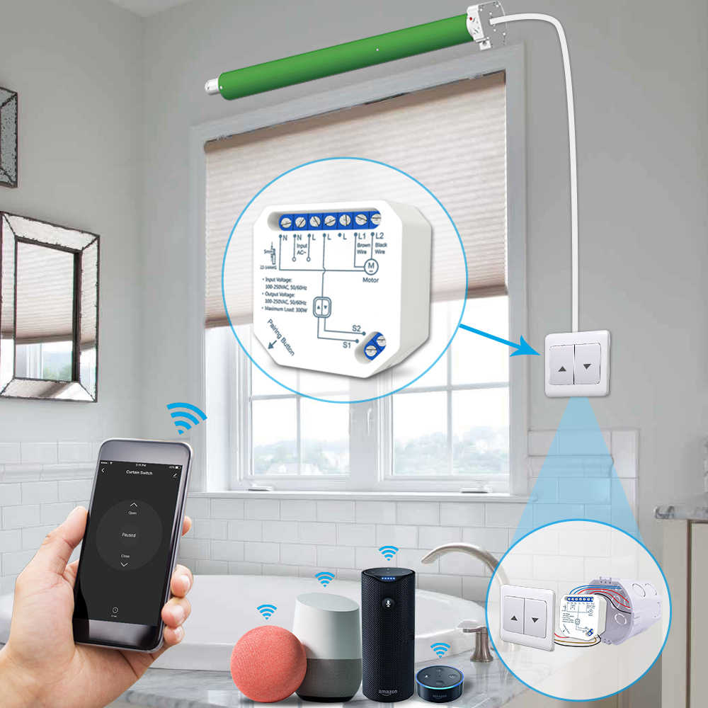 Tuya Kehidupan Cerdas Wifi Tirai Switch Modul untuk Roller Shutter Buta Motor Smart Home Google Home Amazon Alexa Kontrol Suara v2