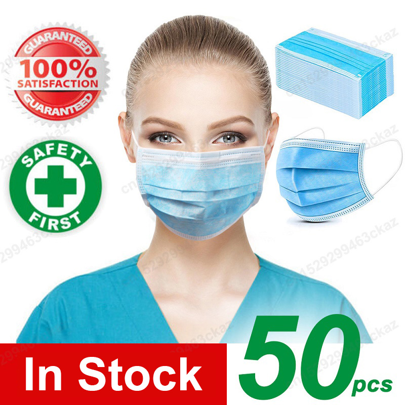 10/20/50/100 Pcs Quality 3 Layers Face Masks Mouth Protective Unisex Masks Non Woven Disposable Anti-Dust Earloops Masks