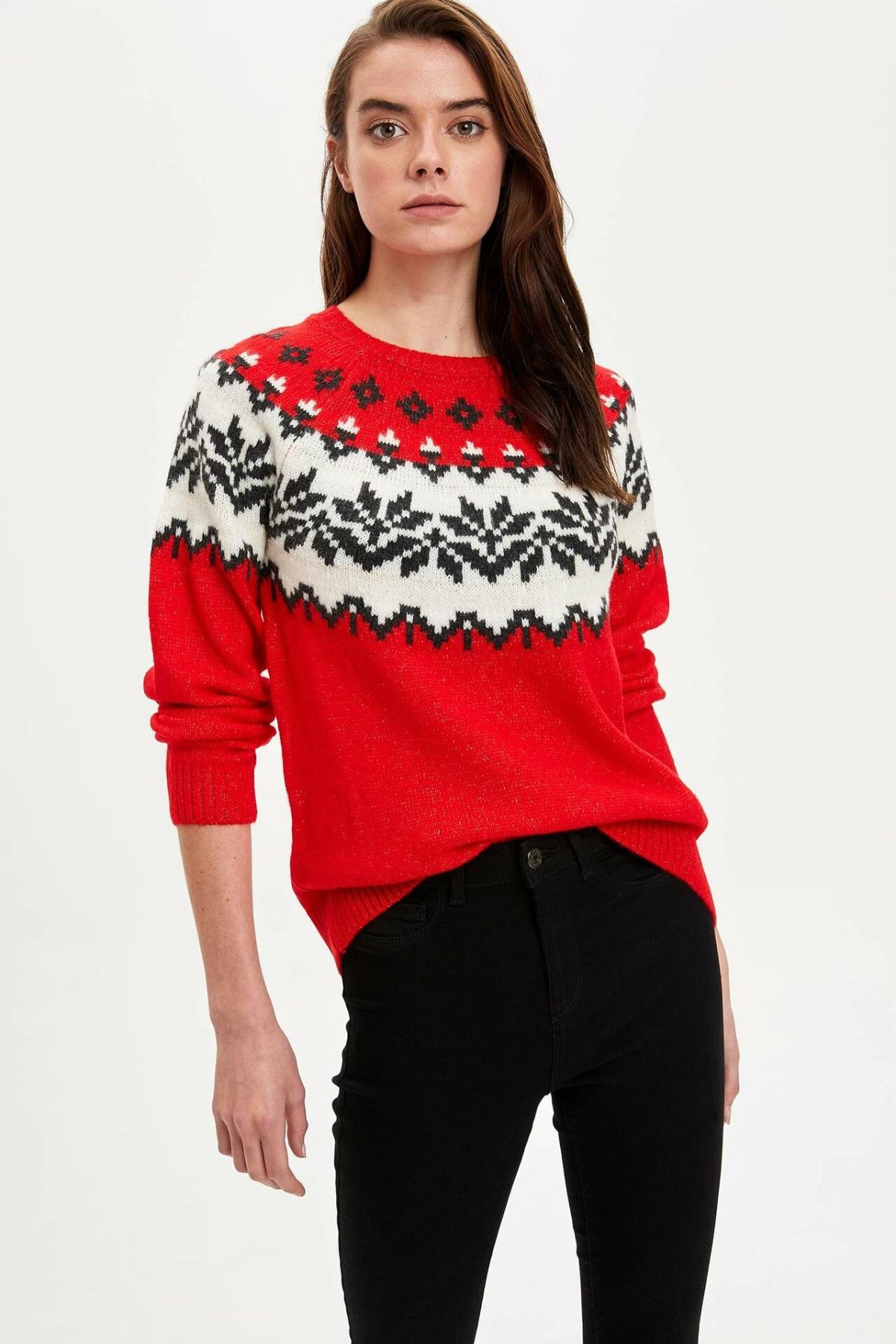 DeFacto Woman Winter Xmas Knitted Pullovers Women Red Long Sleeve Pullover Female Casual White Snowflake Prints Tops-L5941AZ19WN