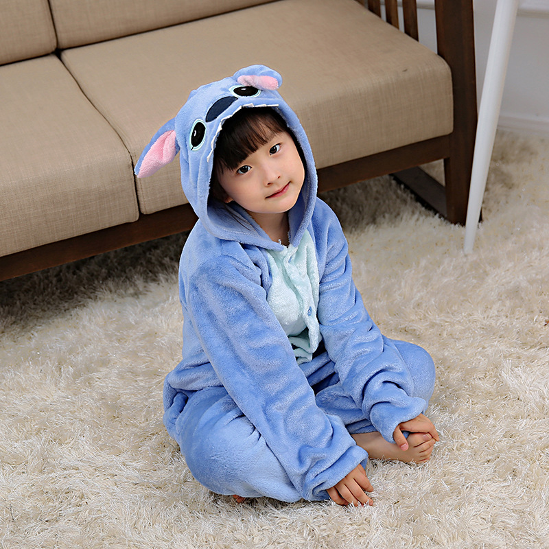 Stitch Dinosaur Kigurumi Kids Anime Animal Pajamas For Children Onesie Kids Winter Sleepwear Overalls Boys Girls Cosplay Costume