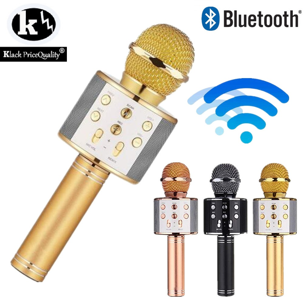 Microphone karaoke Bluetooth Wireless Compatible with iOs and Android, FM Radio Singing Record USB Micro SD colores