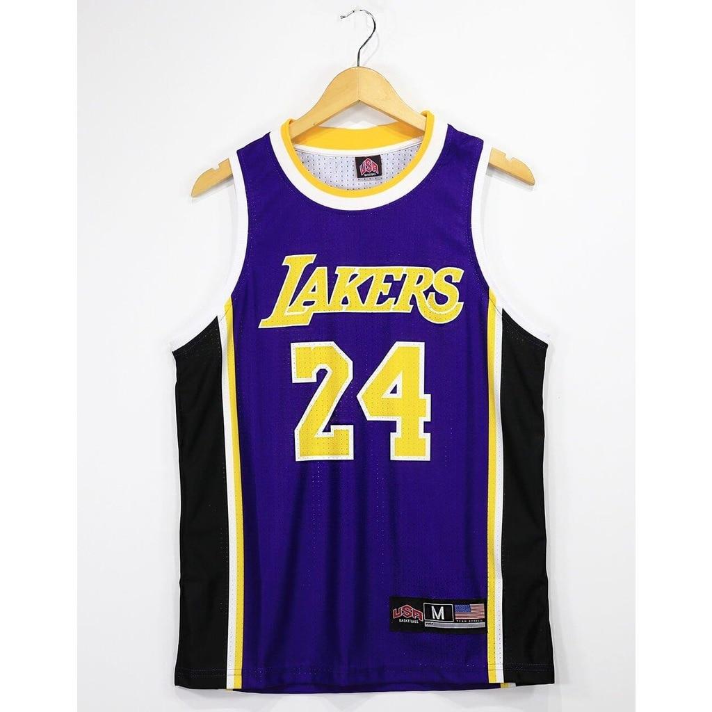 Lakers Bryant 24 TopTank Fishnet Mens Singlet Purple