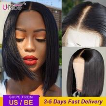 Unice-pelucas de cabello humano con encaje frontal 13x4 para mujer, 8-14