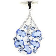 38x22mm 3.1g Rich Blue Violet Tanzanite CZ Real 925 Solid Sterling Silver Necklace Pendant