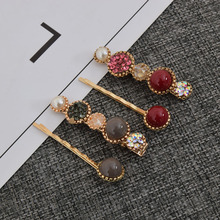 2Pcs/set Fashion Women Vintage Hair Clip Pearl Rhinestone Hairpin Crystal Barrette Girls Hair Styling Accessories crystal rhinestone butterfly barrette gentle hair clip hairpin gift fashion women girls
