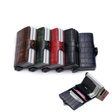 Card Holder Fashion Business ID Credit Brand high quality Metal Aluminum Card Case Women Men PU Leather