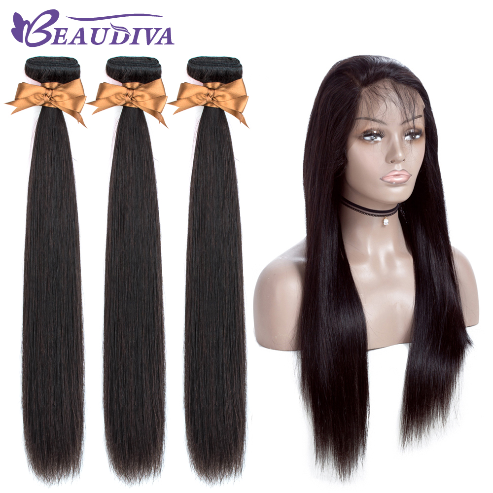 BEAUDIVA Brazilian Straight Hair With 360 Lace Frontal 100% Human Hair Bundles With Closure Brazilian Hair Weave Bundles