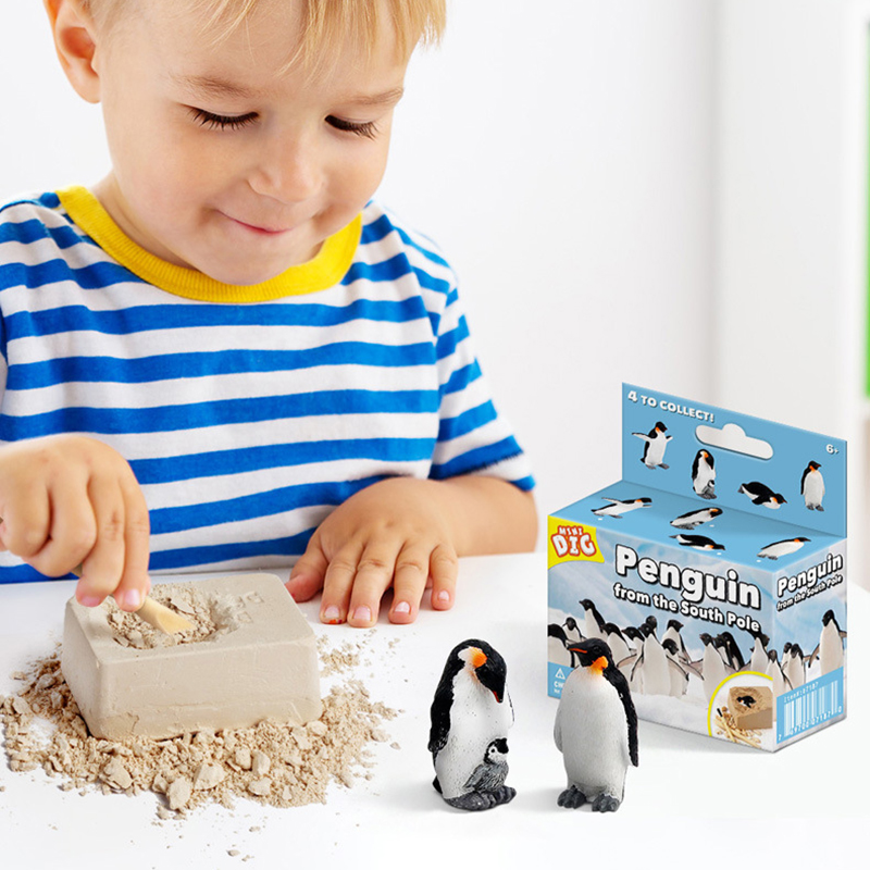 NEW  Children's Innovative New DIY Mining Penguin Pirate Treasure Gems Puzzle Archaeological Excavation Toys  For Children Gift