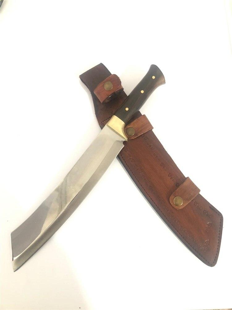 Tools : Machete tactical fixed knives hunting knife bushcfraft survival outdoor tools sharp blade  walnut handle steel 4116 kukri combat