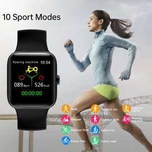 Image 4 - RUNDOING NY17 Reloj inteligente con pantalla táctil completa con caja de aleación de aluminio IP68 impermeable rosa para mujer reloj inteligente para Android IOS