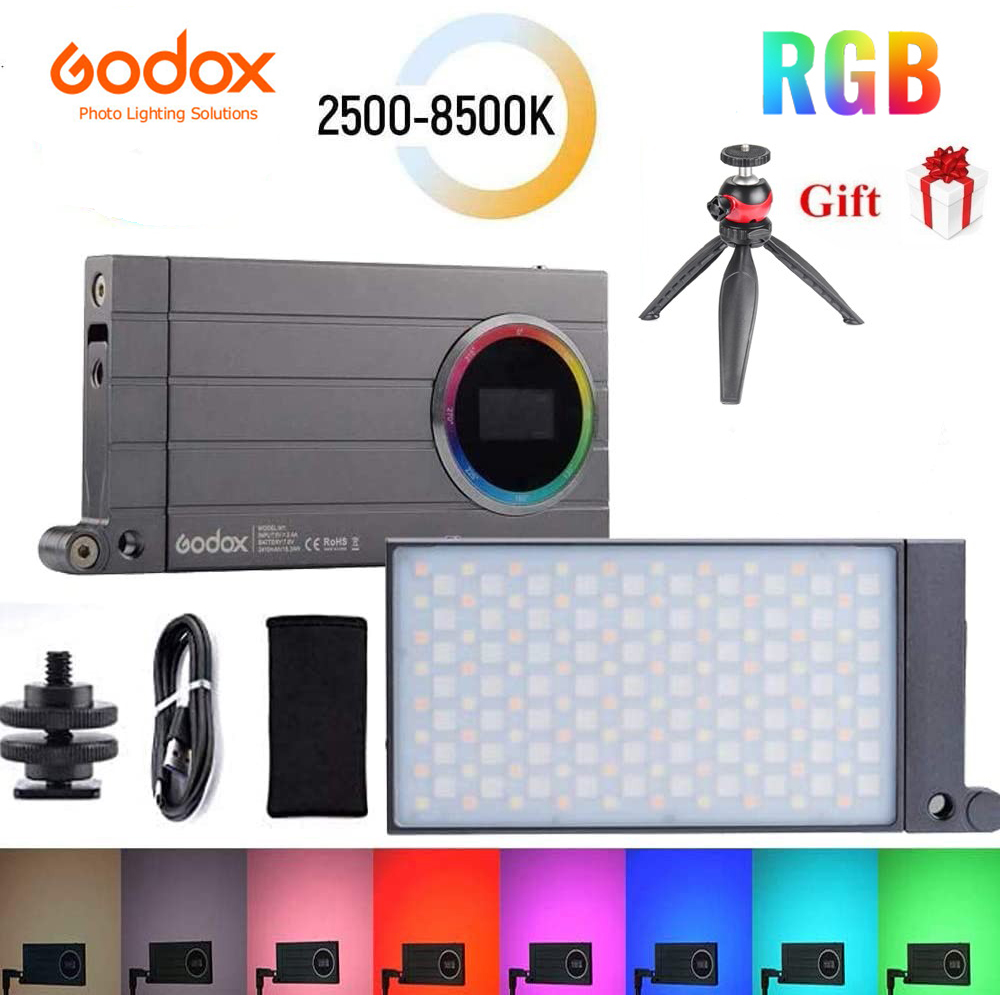Godox M1 2500k-8500k Full Color RGB LED Light Pocket Aluminum Alloy LED Video Creative Light Multiple Special Effects Function Dark Green