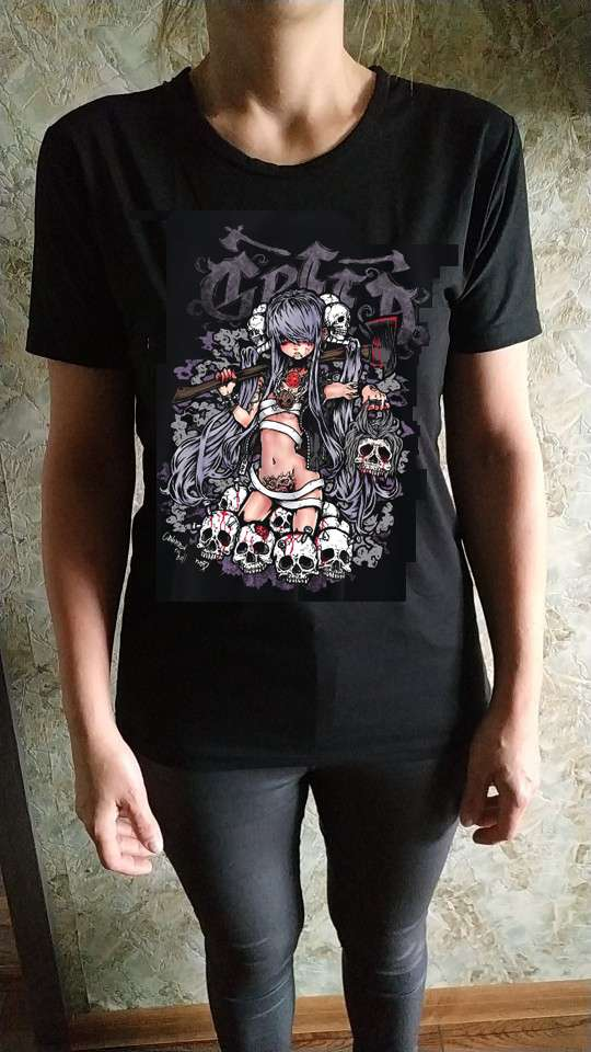 Summer Goth Female Tee Aesthetic Loose Women T-shirt Punk Dark Grunge Streetwear Ladies gothic Top T-shirts Harajuku Clothes y2k photo review