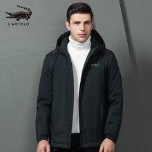 Mens Autumn Winter Cotton Jacket Hooded Warm Cotton Jacket Cotton Selected with Hat Clothing for Men 9301 Cartelo New 2019