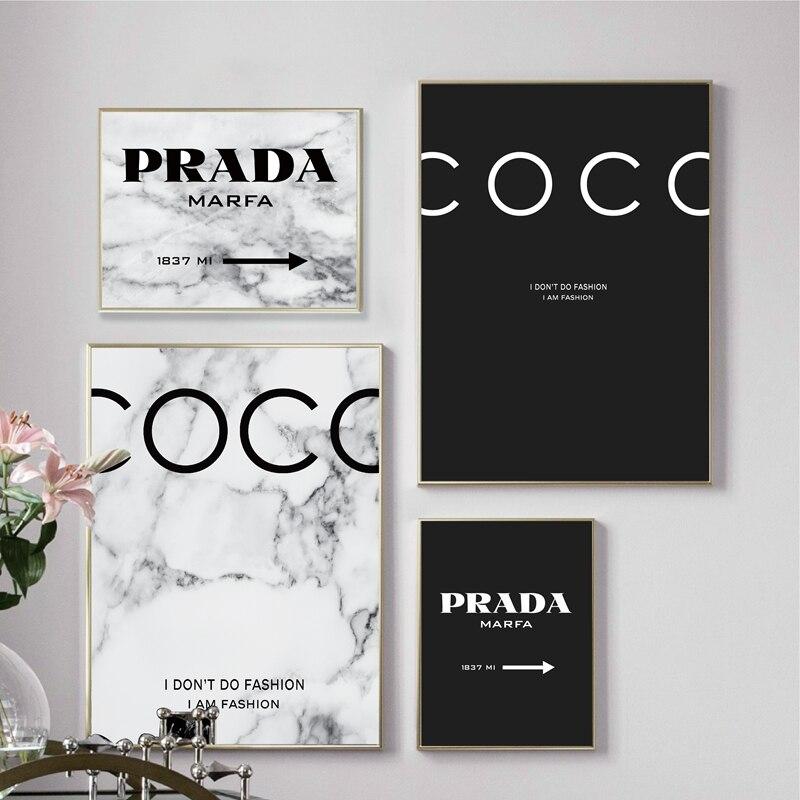 Modern moda mermer Coco tırnaklar posterler ve baskılar siyah beyaz Vogue resimleri tuval boyama oturma odası ev dekor için