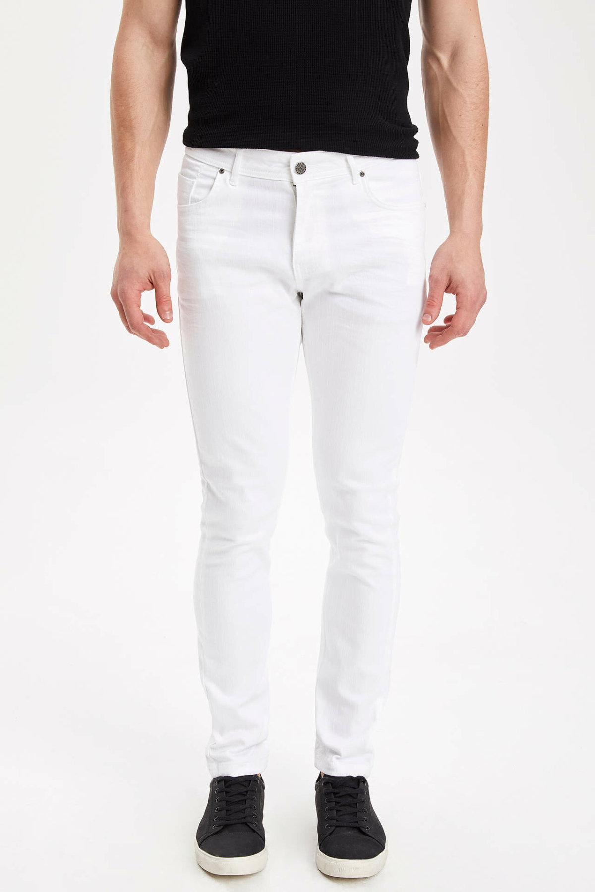 DeFacto Men Spring Denim Jeans Man Casual Straight Long Pants Male Mid-waist Solid Color Bottoms Trousers-I1209AZ18SP