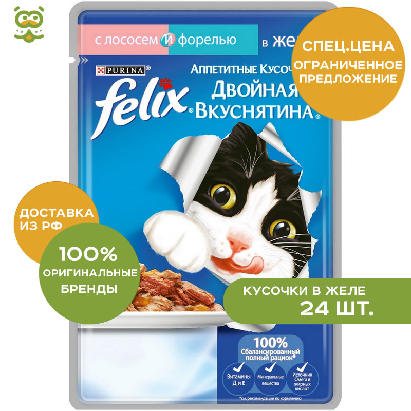 Cat wet food Felix Double Yummy Pauch for cats (pieces in jelly), Salmon and trout, 85 g. felix wet fodder for cats in assortment 85 g x 72 pcs