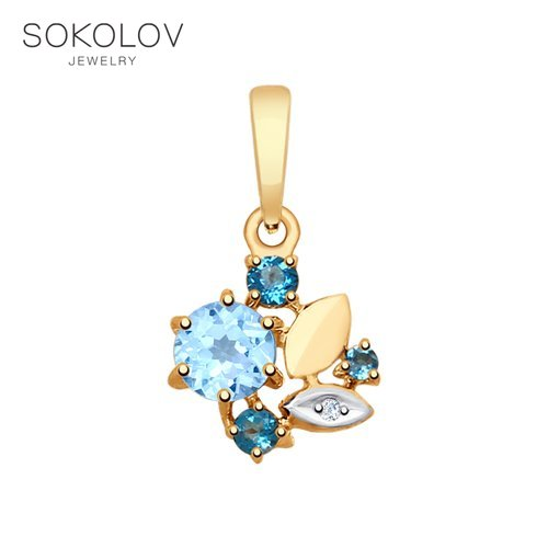 Pendant SOKOLOV Gold With Blue And Blue Topaz And Cubic Zirconia Fashion Jewelry 585 Women's Male