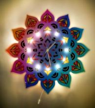 Decorative Handmade Wooden Mandala Epoxy Led Luminous Wall Clock