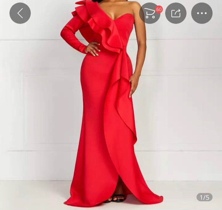 African Style Elegant Party Sexy Vintage Women Long Dresses One Shoulder Bodycon Split Female Ruffles Maxi Red Dress photo review
